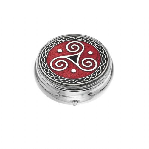 Large Pill Box Silver Plated Celtic Triskele Red Brand New & Boxed